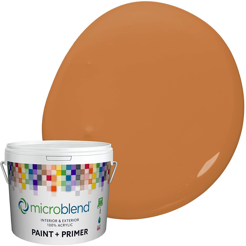 Microblend Exterior Paint and Primer - Orange/Titan's Glory, Eggshell Sheen, 2-Gallon, Premium Quality, One Coat Hide, Low VOC, Washable, Microblend Oranges Family