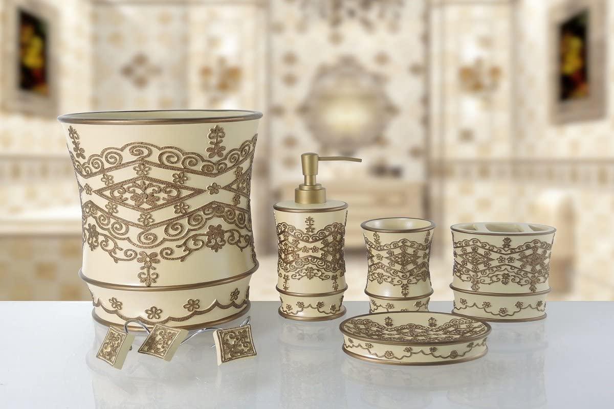 Prime Linen 6 Piece Luxurious Heavy Duty Ceramic Bath Accessory Set (Vivian Beige)