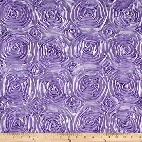 AK Trading 54-Inch Wide Premium Satin Rosette 3D Rose Design Ribbon Fabric (Lavender, 1 Yard)