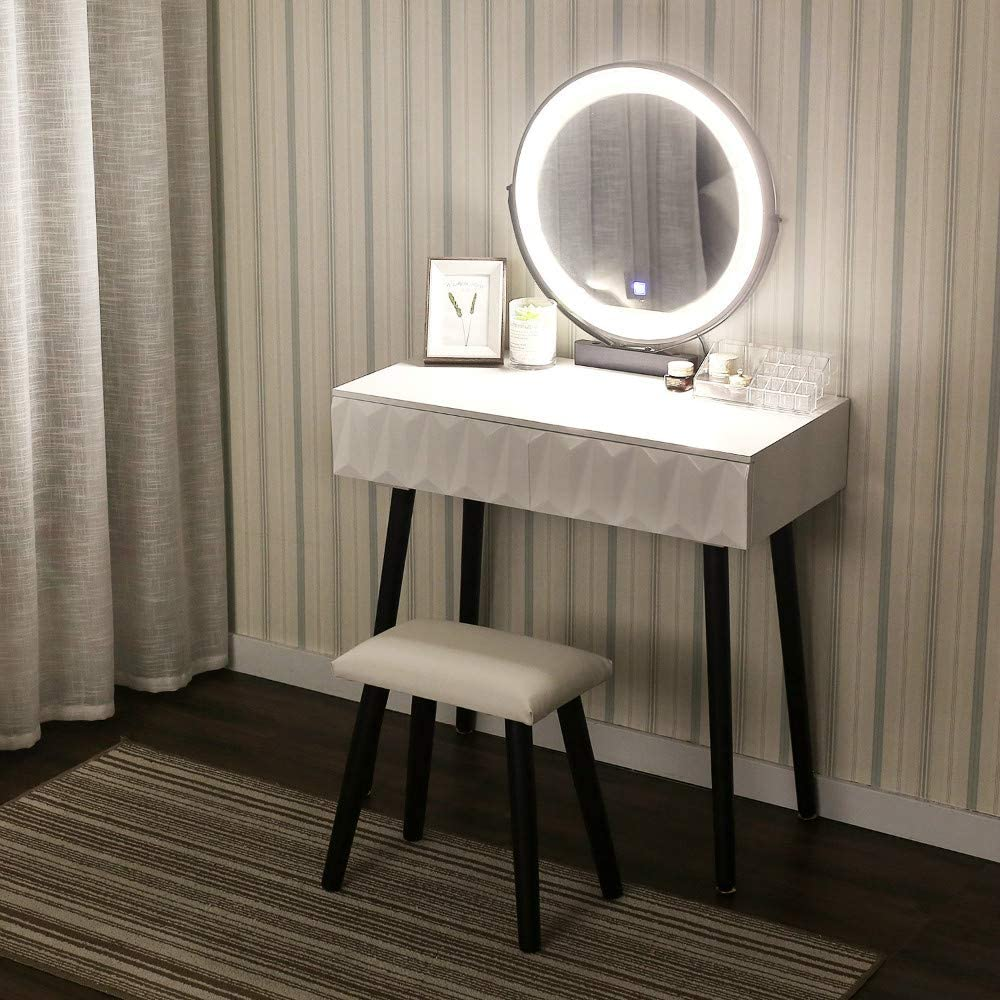 YOURLITE Vanity Makeup Table Set with 3 Modes Touch Screen Adjustable Lighted Mirror, Cushioned Stool, 2 Sliding Drawers Easy Assembly Free Make-up Organizer