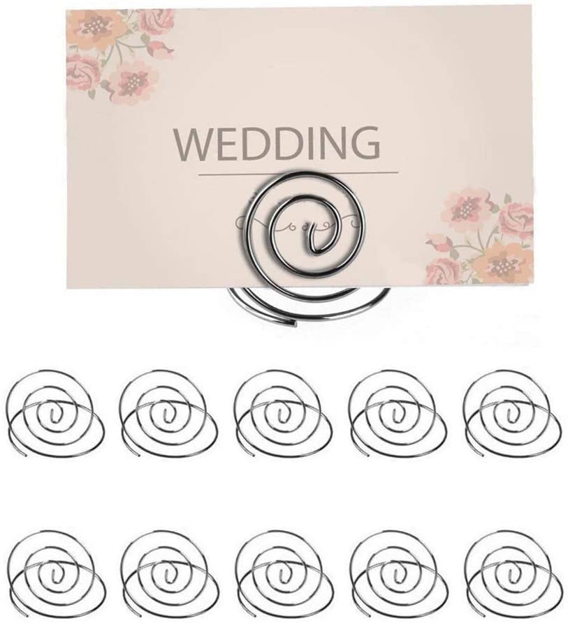 FABSELLER Table Number Holder Wedding Table Name Card Holder Clips Picture Memo Note Photo Stand Sign Holder Place Card Holders, 10pcs