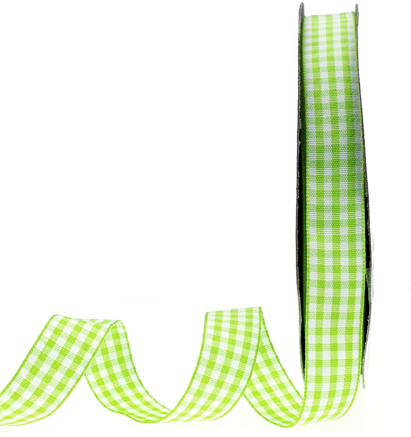 ATRibbons 50 Yards 5/8 Inch Wide Plaid Ribbon Polyester Gingham Ribbon for Gift Wrapping,Hair Bows and Craft (Light Green)