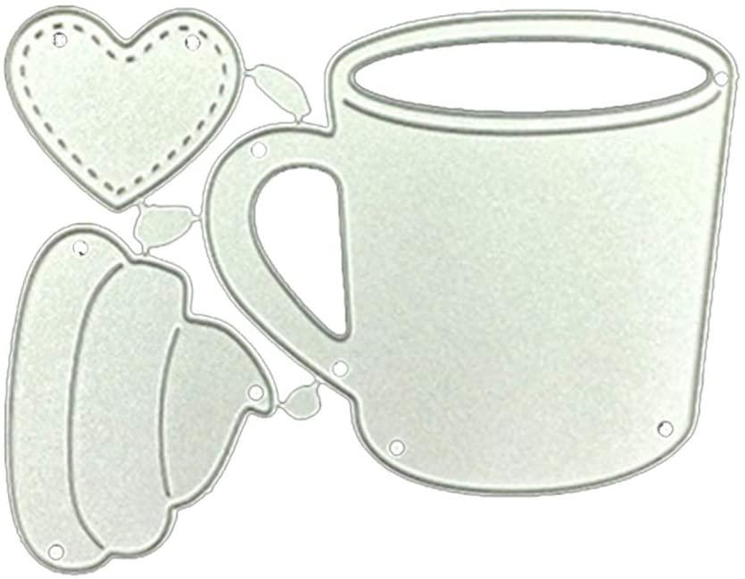i7kbgshj Cutting Die Tea Cup Dies Frame Metal Cutting Dies Stencil Metal Die Cutting Template Handmade Stencils Template Embossing Die for DIY Scrapbooking Card Decorative Embossing