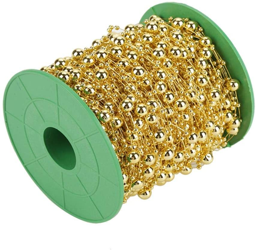 Wire Beads String Pearl Bead Roll, Pearl Wire Beads, 60m/roll Pearl Garland for DIY Craft Decoration(Golden)