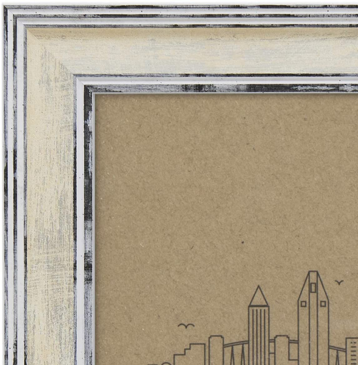 Picture Frame 8x10 Distressed Cream - Mount Desktop Display, Frames by EcoHome