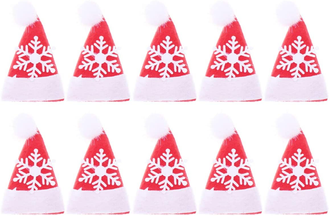 Amosfun 10pcs Christmas Hat Embroidered Badge Iron Sew On Applique Patch DIY Cloth Patch Sewing Decorative Accessories (Snowflake)