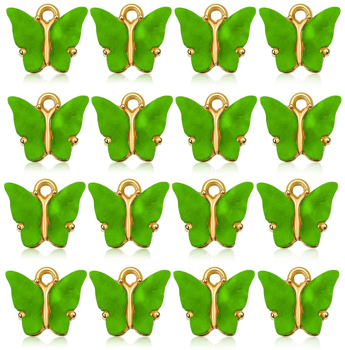 16 Pcs Butterfly Charms Acrylic Butterfly Pendant for Necklace Bracelet Earrings DIY Jewelry Making (Green)