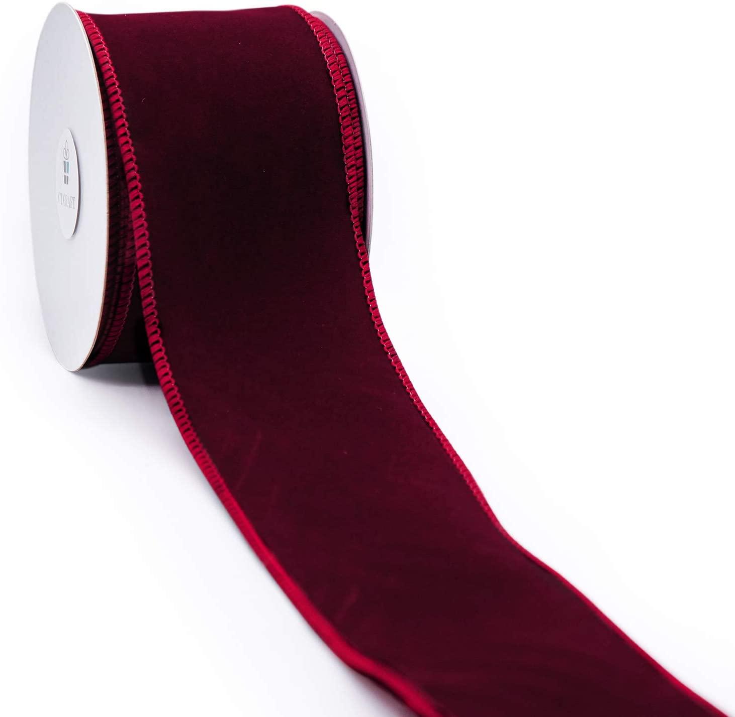 CT CRAFT LLC Plain Velvet Wired Ribbon - 2.5