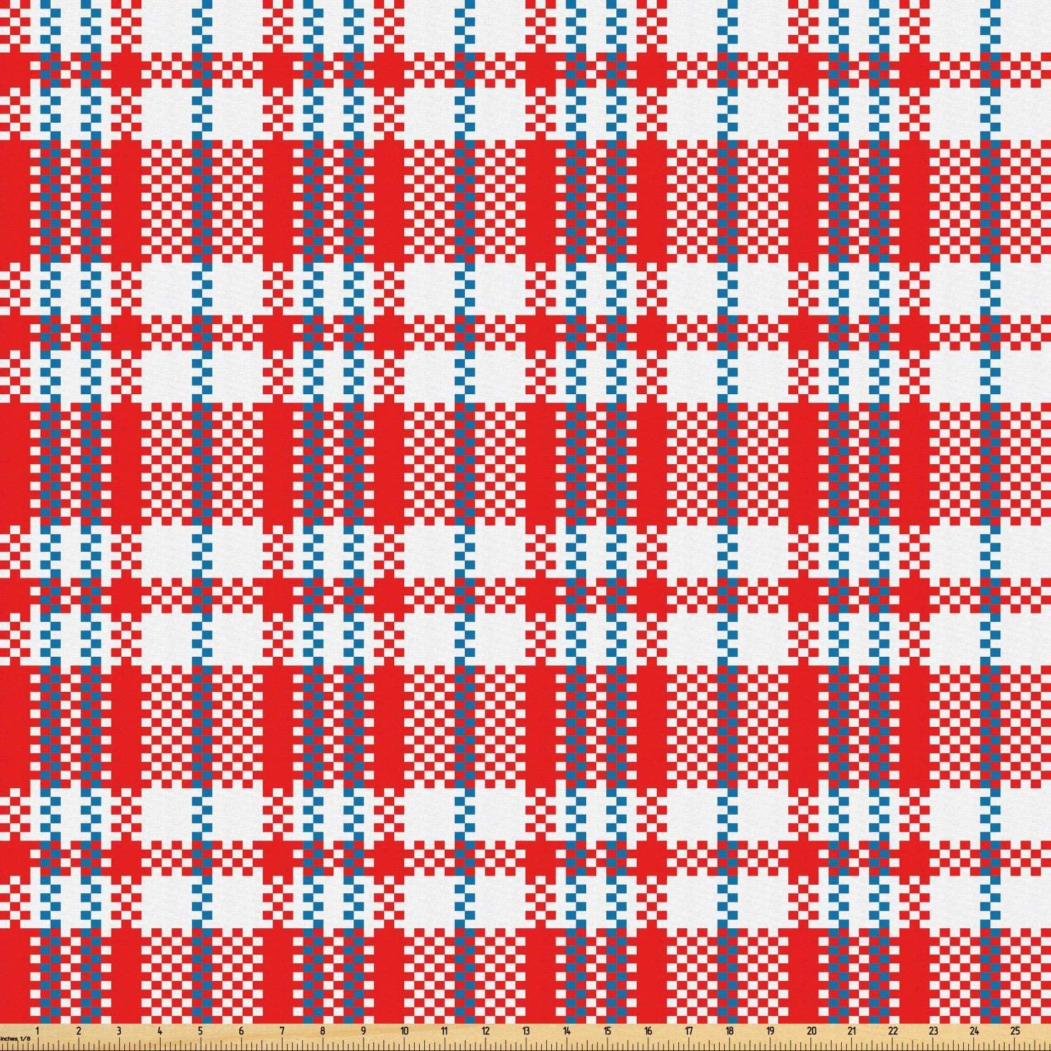 Lunarable Plaid Fabric by The Yard, Colorful Chinese Checkered Pattern Quilt-Like Design Oriental, Microfiber Fabric for Arts and Crafts Textiles & Decor, 2 Yards, Vermilion Petrol Blue and White