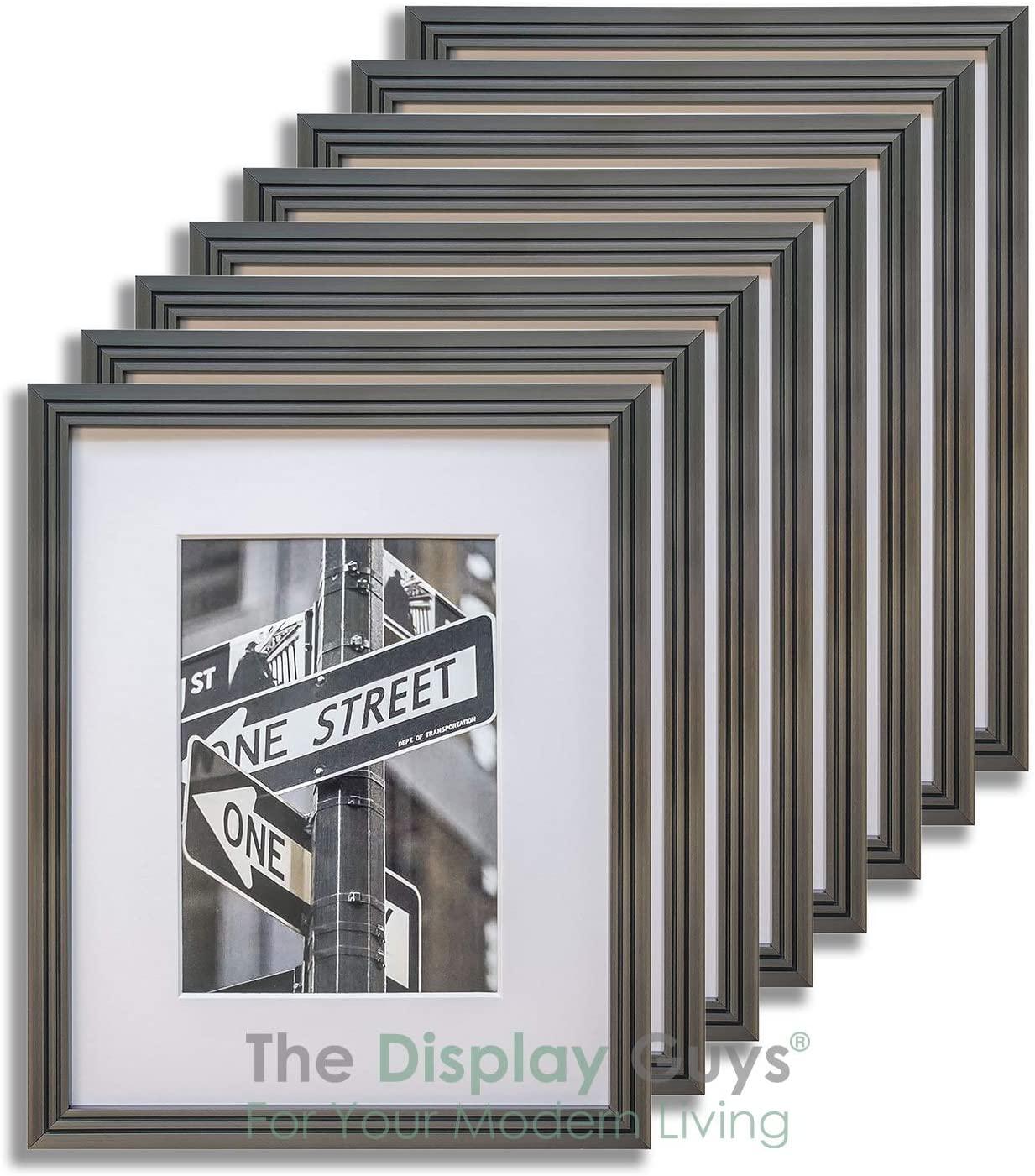 The Display Guys 5x7 Steel Grey (Gunmetal) Art Deco Picture Frames w. Mat for 4x6 (Value 8-Pack), Plexiglass 5/8