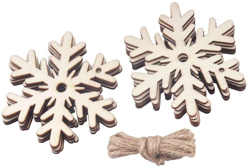 ALLinONE Unfinished Wood Slices Christmas Ornament Hanging Embellishment for DIY Craft Holiday Decoration 20pcs (Snowfake)