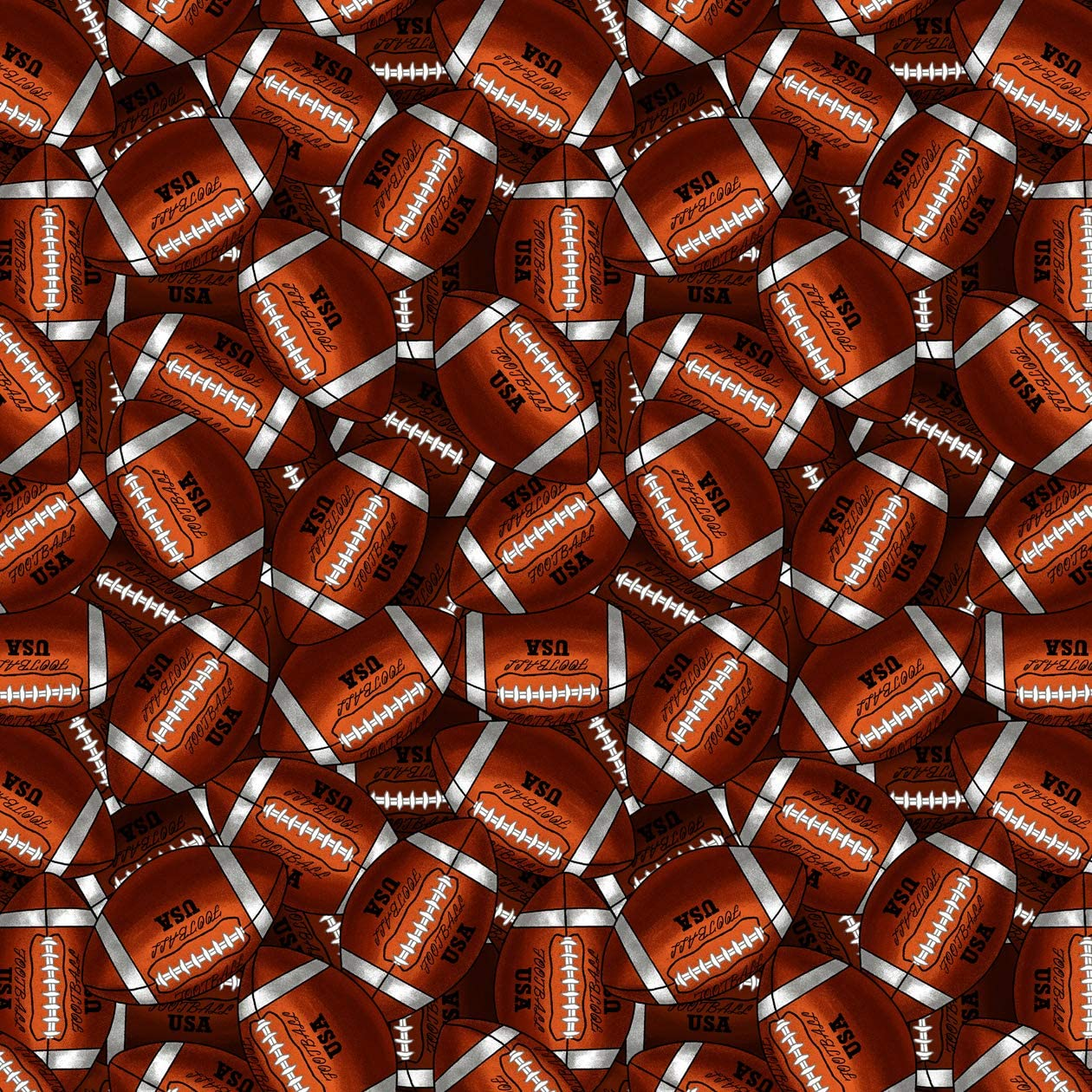 Footballs Cotton Fabric by The Yard