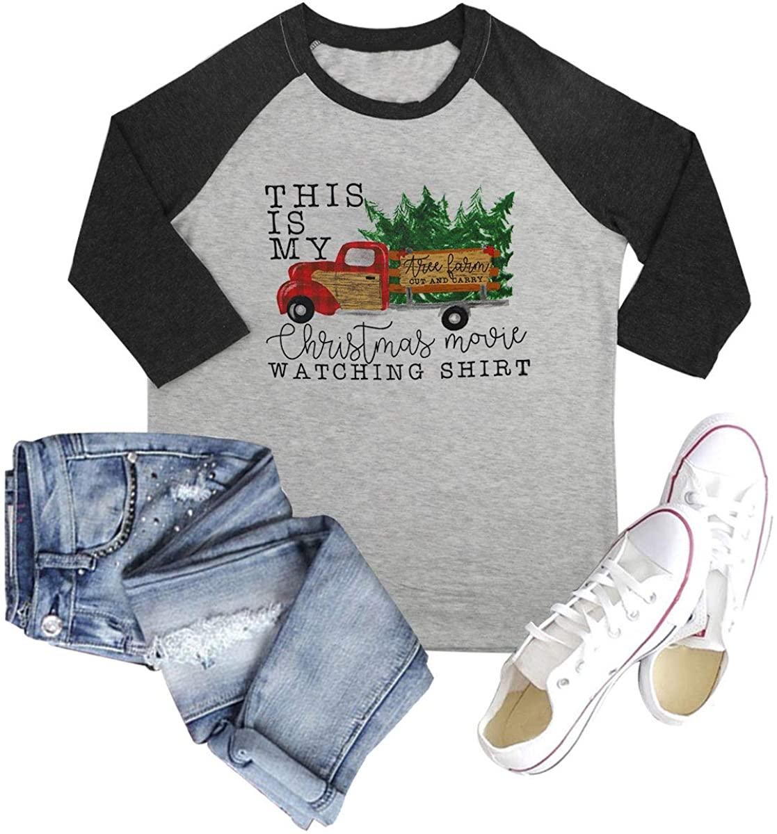 GEMLON Women This is My Christmas Movie Watching Shirt Truck Graphic 3/4 Sleeve Xmas Tree Cute Tops Blouse