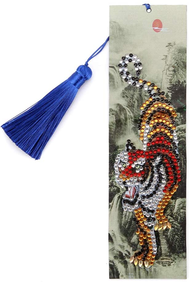 Wiixiong 5D DIY Tiger Diamond Painting Bookmark, Creative Special Shaped Leather Tassel Art Craft Set Reading Bookmark Family Birthdays Gift (1#)