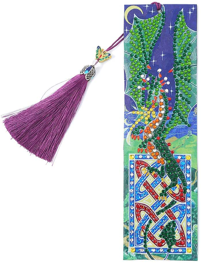 DIY Bookmark with 5D Shaped Diamond Painting, Creative Leather Bookmark with Tassel Art Handicraft Mosaic, Christmas, Thanksgiving, New Year, Birthday Present (Long)