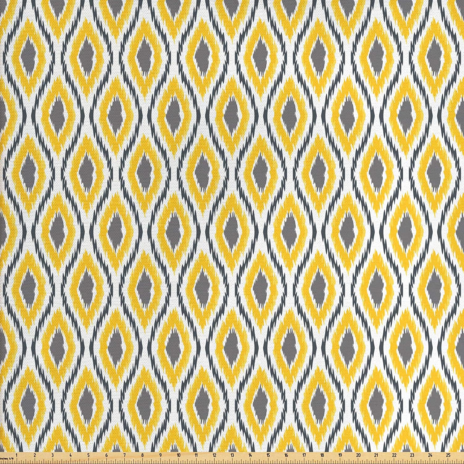 Lunarable Ikat Fabric by The Yard, Oval Double Zigzag Ikat Motifs Exotic Japanese Culture Design, Decorative Fabric for Upholstery and Home Accents, 1 Yard, Yellow White