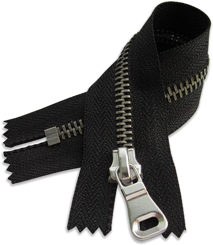 7 Nickel Zipper 7 inch Black Zip for Sewing Craft