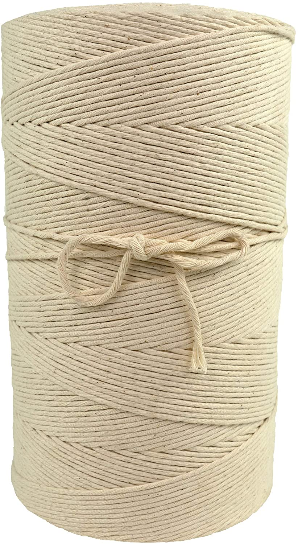 Bulk Macrame Cord | 100% Natural, Unbleached Cotton | Single Twist | 1.5 mm, 2 mm, 3 mm, 4 mm, 5 mm or 6 mm Diameter | 2.5 lb, 5 lb, 10 lb or 20 lb Tubes (5 mm x 20 lb Cone)