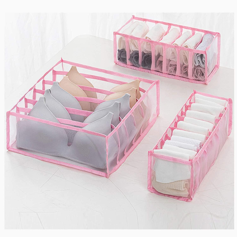 Closet Underwear Organizer, Underwear Storage Box, Foldable Drawer Divider Kit with 6/7/11 Compartments, Socks Bra Underpants Organizer Drawers Nylon Divider Box (Pink x3)