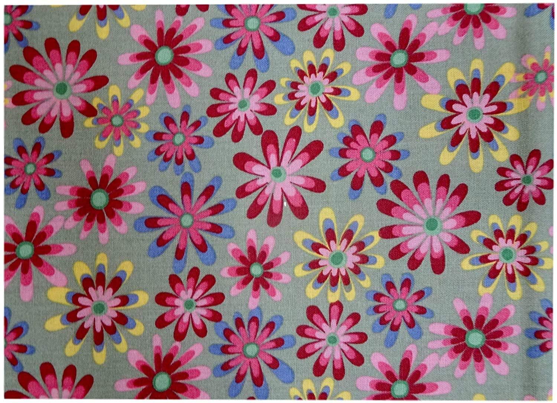 Fabric Cotton Vintage Style Retro Flower Power 44 Wide, (3 Pre-Cut Yards)