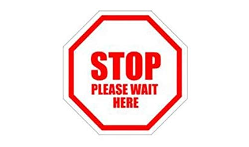 Litemark Safety Floor Signs (Stop Please Wait HERE) | Heavy Duty | Temporary | Social Distancing | 30 mils Thick | Pack of 40 Signs (4 in Diameter)
