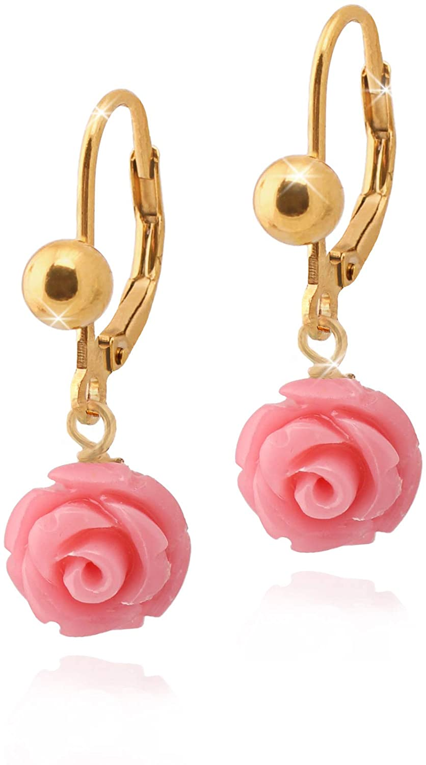 Surgical Steel Earrings for Girls: Toddler Earrings - Resin Rose Flower Earrings - Hypoallergenic Baby Earrings