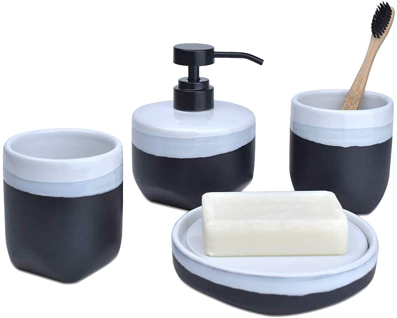 Satu Brown Bathroom Accessories Set Black Ceramic, 4 Pieces