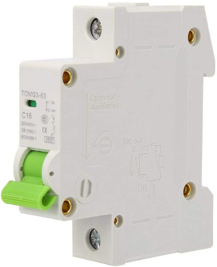 TOMG3-63 1P C-type Miniature Circuit Breaker Leakage Protection 230V/400V AC Air Switch(16A)