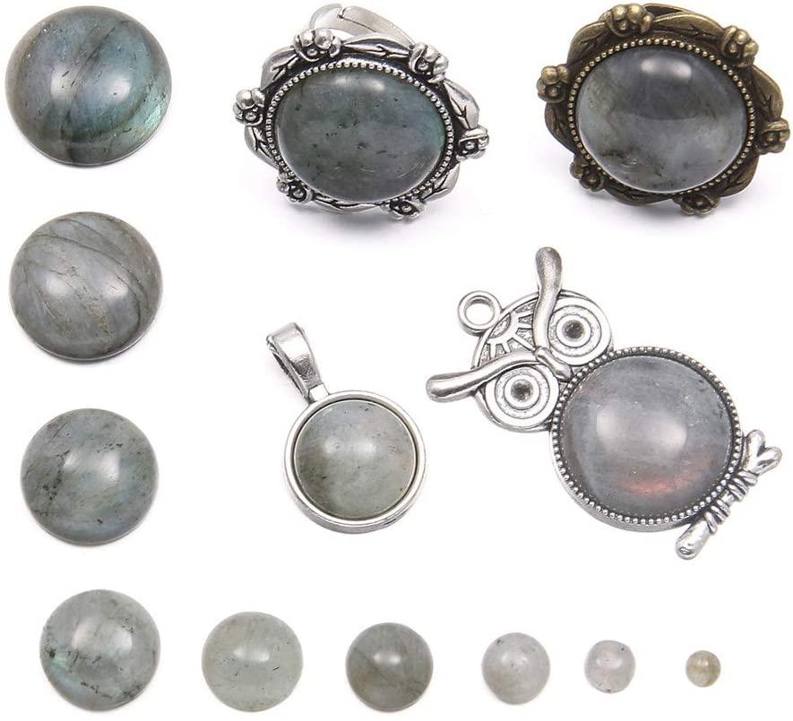 20pcs Natural Stone Flash Labradorite Cabochon Flatbacks Round Gemstone Cabochons for Jewelry Making (4mm)