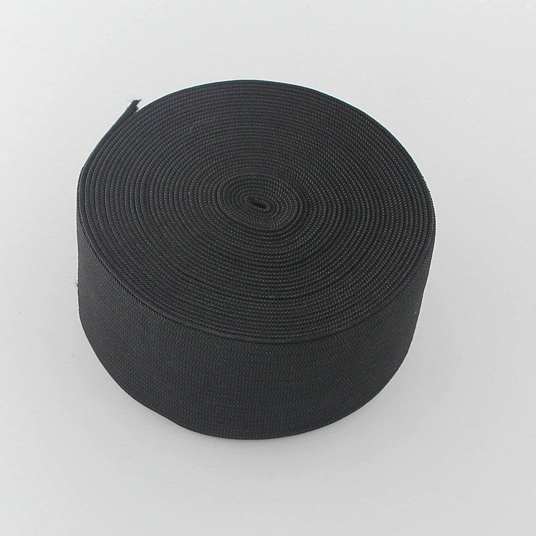 Leelayer 2 inch Black Knit Elastic Band by 5 Yard Braided Elastic Band roll Elastic Spool for Wigs, Underwear, Pants, Sportswear, Skirts, DIY Projects