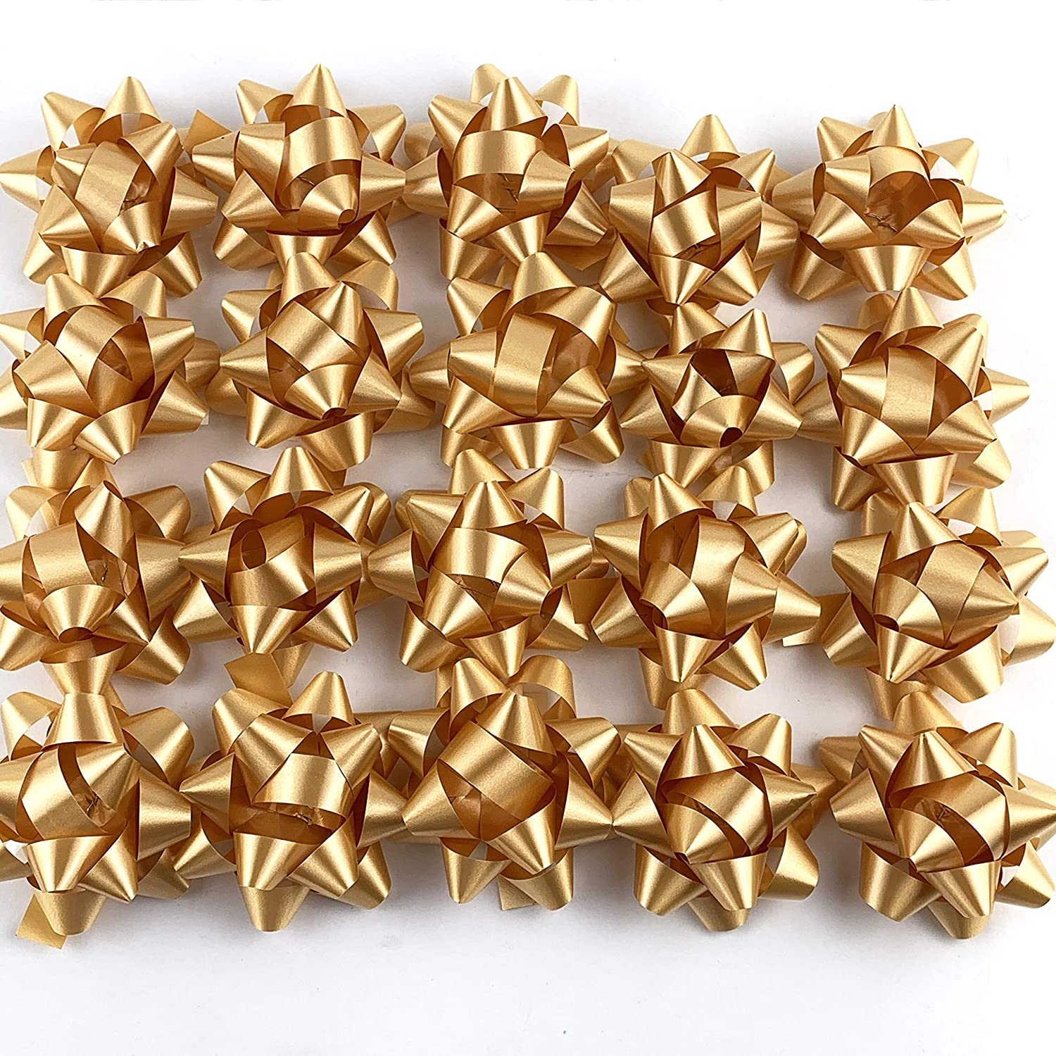 Worlds Gold Confetti Bows Star Bows Wrap Bows 2-3/4 Inch(20 Pack)
