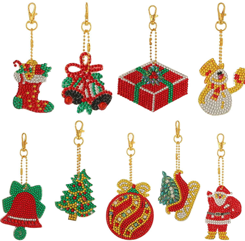 Christmas DIY Diamond Keychain 5D DIY Diamond Painting Key Chain Christmas Rhinestone Arts Crafts