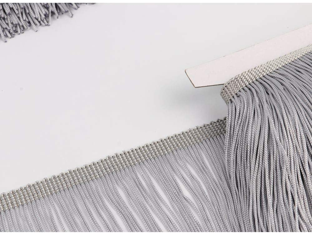 Heartwish268 Fringe Trim Lace Polyerter Fibre Tassel 6inch Wide 10 Yards Long for Clothes Accessories Latin Wedding Dress DIY Lamp Shade Decoration Black White Red(Gray)