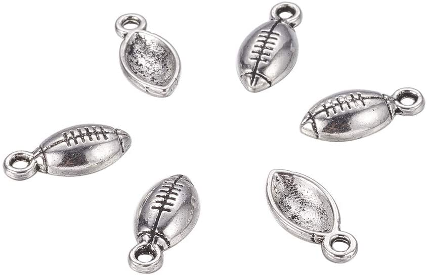 PH PandaHall 50pcs Antique Silver Football Charms Pendant Tibetan Metal Alloy Sports Charms Findings for Bracelets Necklace Jewelry Crafts Making Accessories 15x7x3mm