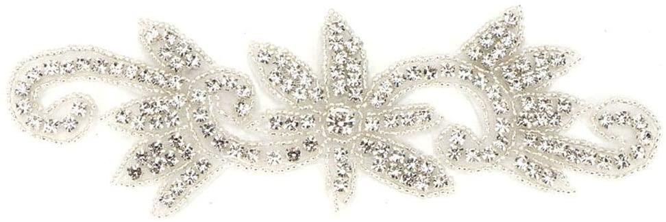 KEYREN Applique Patches DIY Clothes Crystal Bead Glass Appliques Wedding Belt Decoration Sewing Accessories DIY Craft Brooch Doll Dress Wedding Decoration (03)