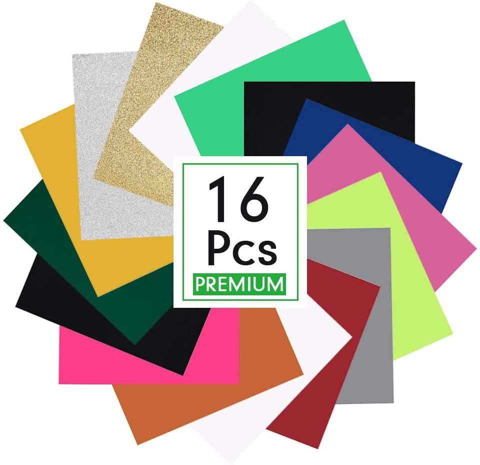 PABOBIT Heat Transfer Vinyl Bundle, 16 Sheets 12 x 10 HTV Heat Transfer Vinyl, 14 Assorted Colors HTV Vinyl for DIY, PU and Glitter HTV Iron on Vinyl for T-Shirts