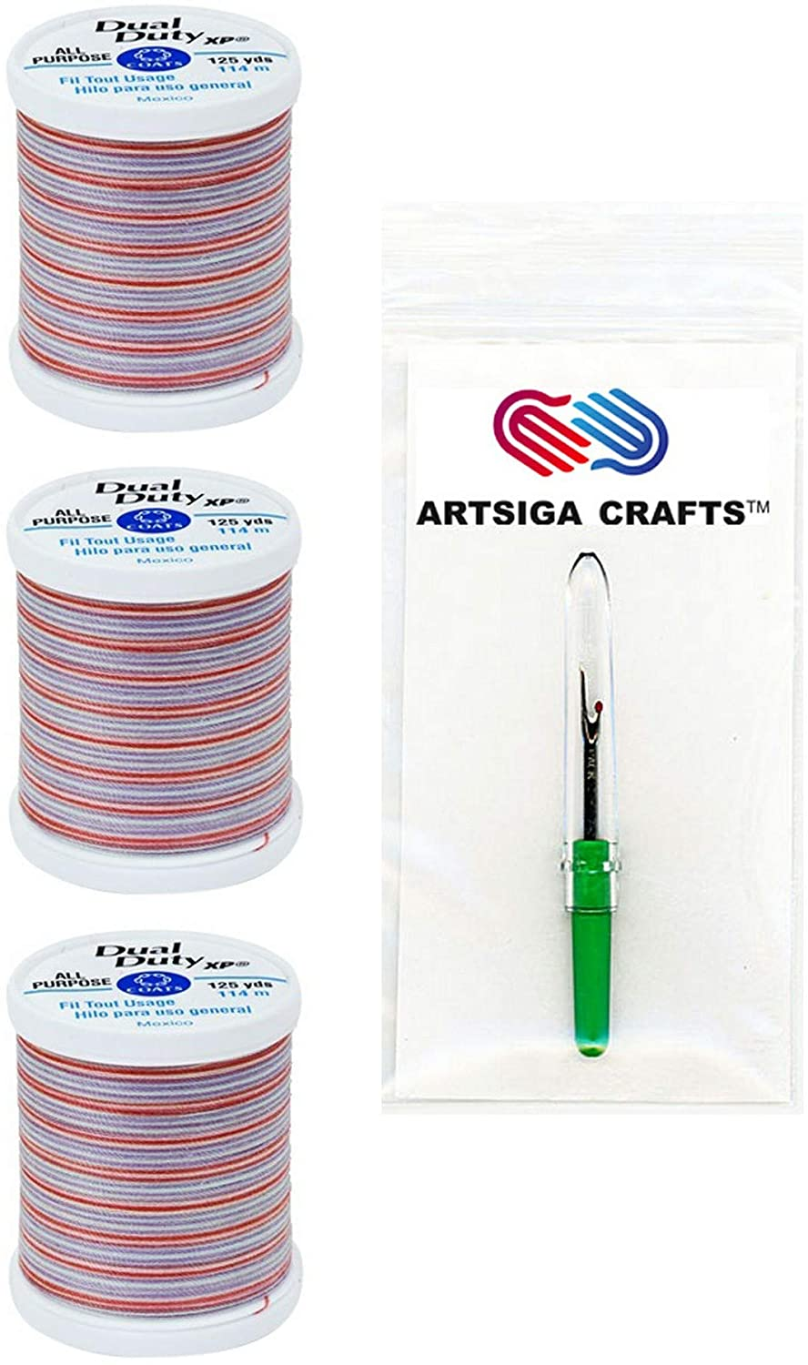 Coats & Clark Sewing Thread Dual Duty XP General Purpose Poly Thread 125 Yards (3-Pack) Sherbet Bundle with 1 Artsiga Crafts Seam Ripper S900-9314-3P