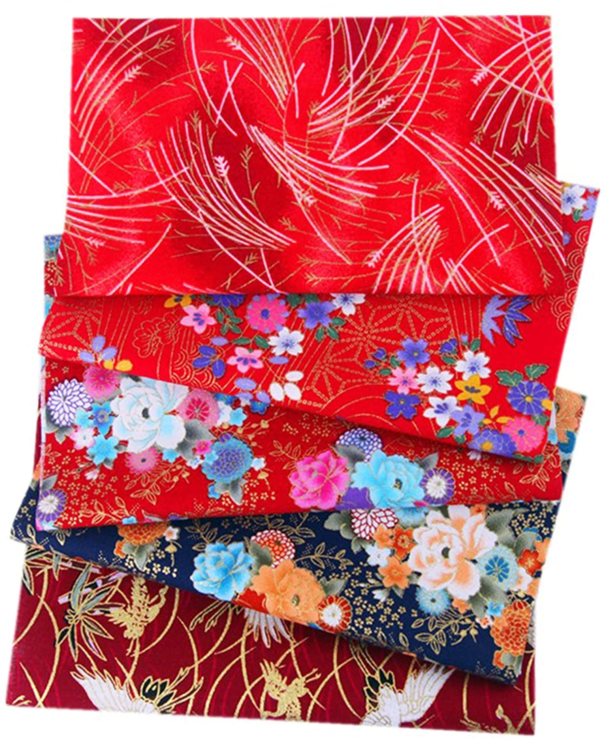 Zrium DIY Handmade Craft Sewing Cotton Fabric Japanese Printed Style Mixed Pattern Fabric for Crafts Sewing Scrapbooking Clothing 5PCS 2025cm (Set E)