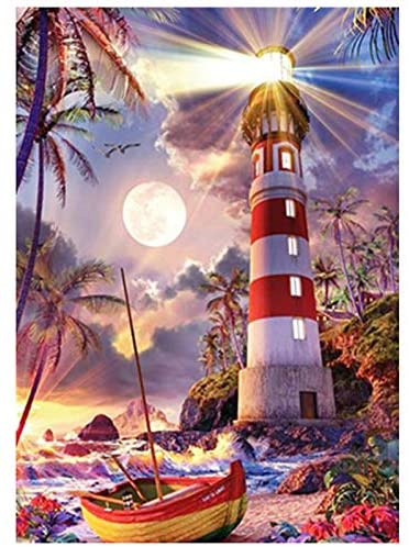 Eiflow 5D Diamond Painting Dotz Kits for Adults Full Drill,DIY Paint with Diamond Embroidery Art Craft Mosaic Making for Home Wall Decor,Lighthouse(12x16 Inches)