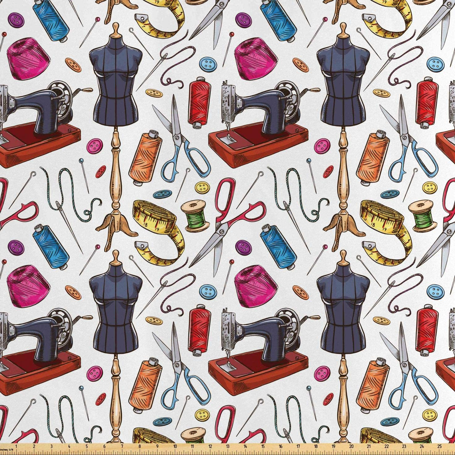 Lunarable Fashion Fabric by The Yard, Pattern with Cartoon Tailoring Equipment as Sewing Machine Thread and Tape Measure, Decorative Satin Fabric for Home Textiles and Crafts, 3 Yards, Red