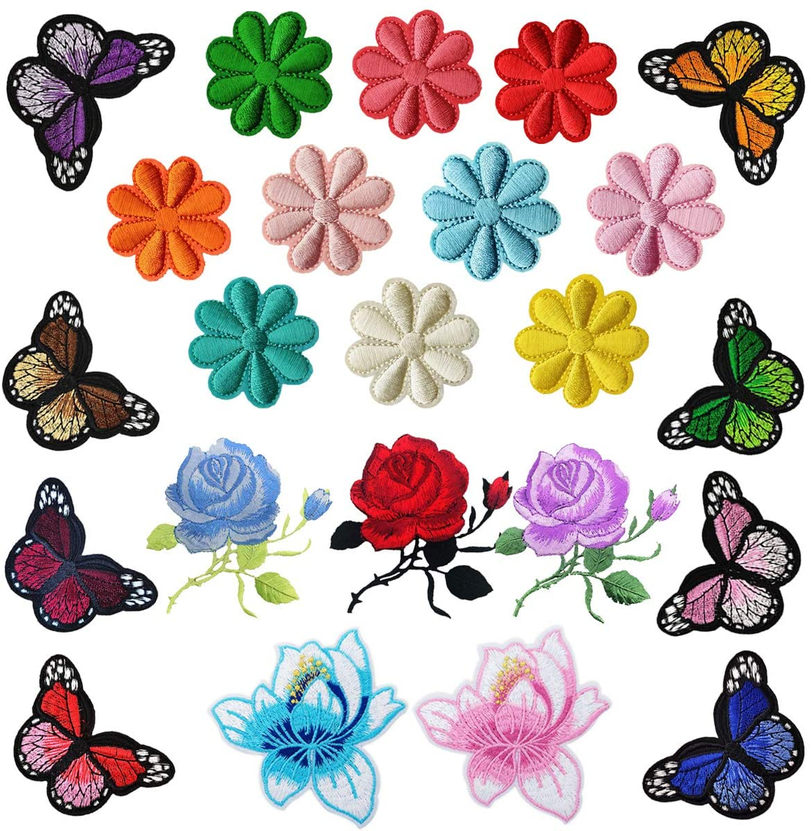 Woohome Iron on Patches 23 PCS Rose Flower Butterfly Patch Embroidered Iron on Applique Patch for Craft, Sewing, Clothing