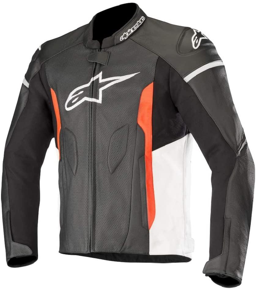 Alpinestars Men's Faster Airflow Leather Street Motorcycle Jacket, Black/Red, 48
