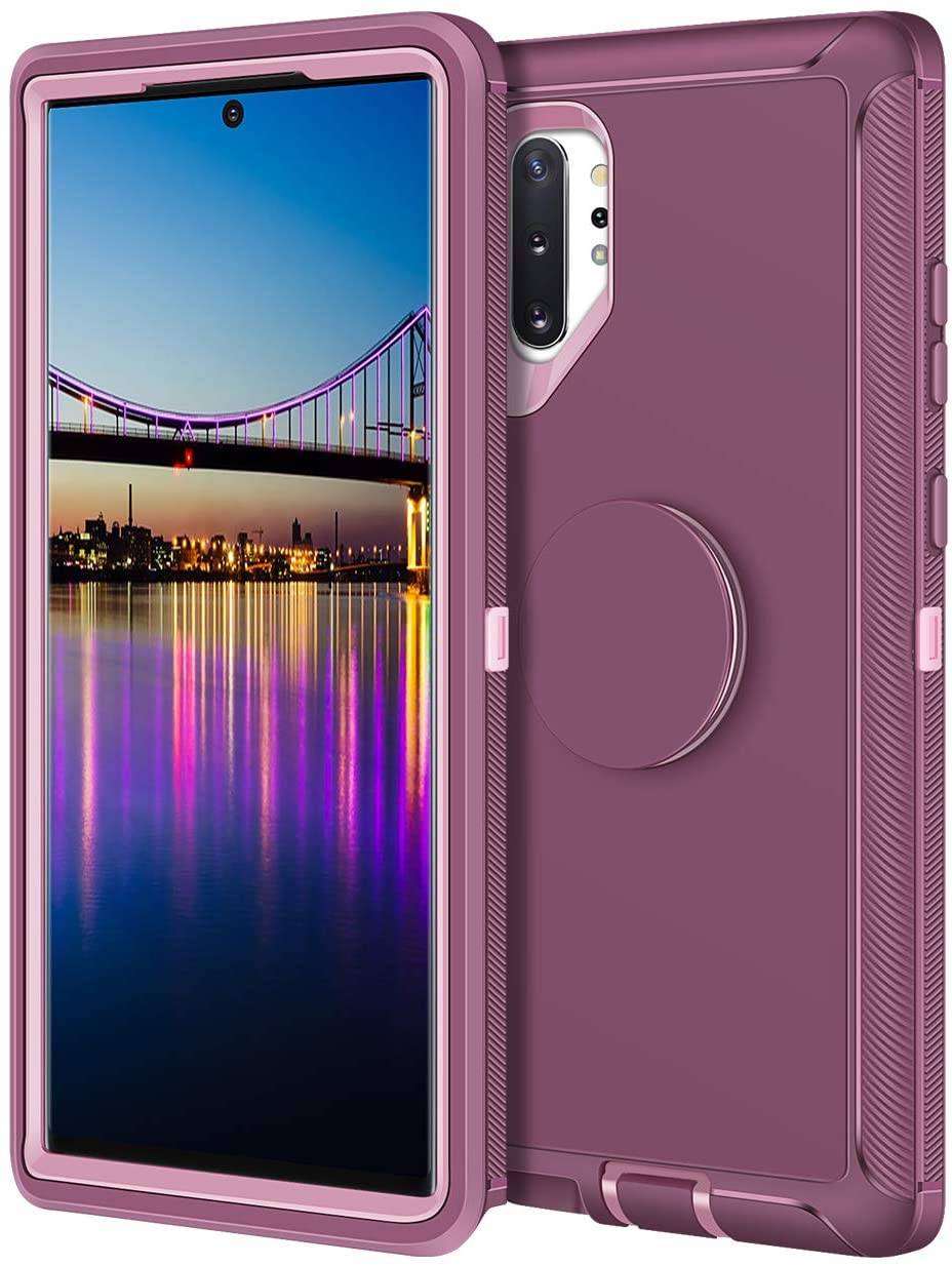 Aemotoy for Galaxy Note 10+ Plus 5G Case Hybrid Protective Heavy Duty Hard Shell with Kickstand Holder Full Body Shockproof Cover Case for Samsung Galaxy Note 10+, Burgundy