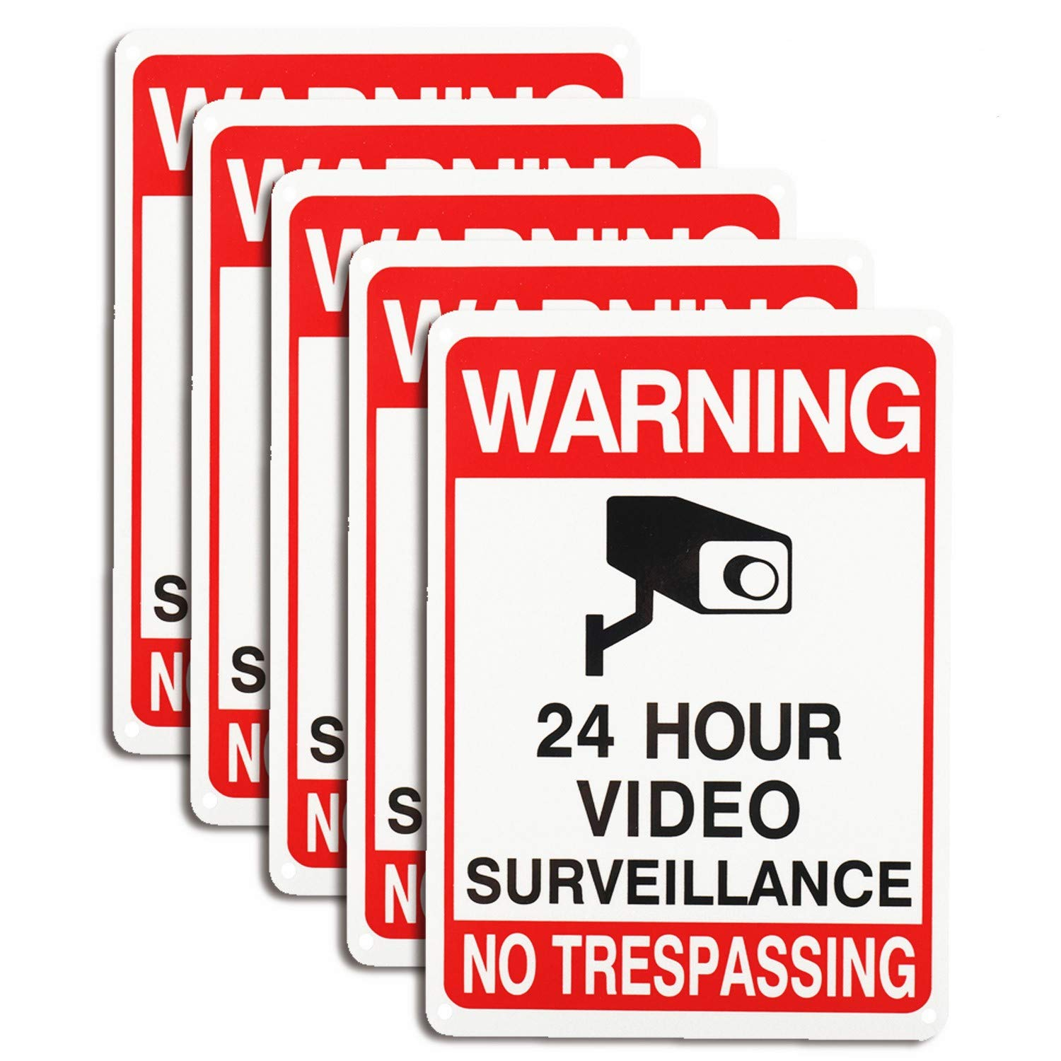 YaeCCC 5 Pack Video Surveillance Signs, No Trespassing Aluminum Signs for Outdoor Security Camera Warning