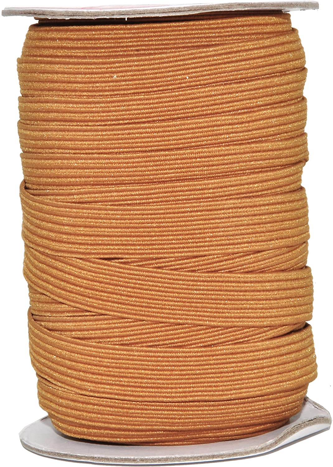 Mandala Crafts Flat Elastic Band, Braided Stretch Strap Cord Roll for Sewing and Crafting; 1/2 inch 12mm 20 Yards Russet Brown