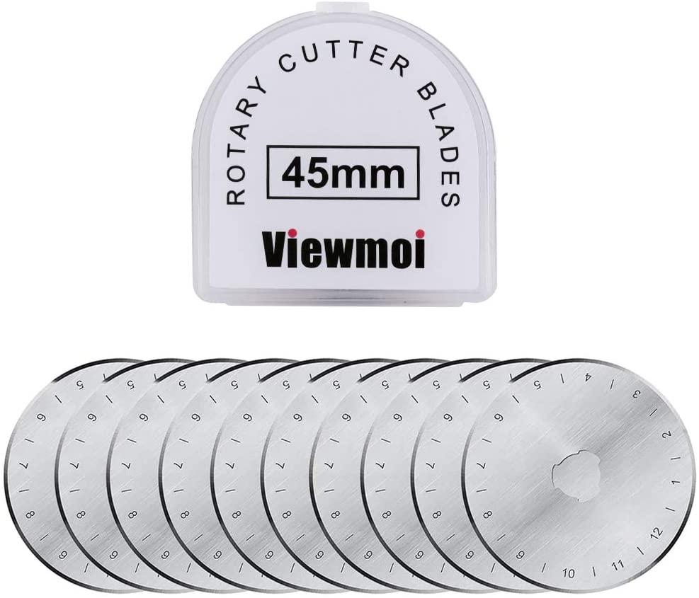 Viewmoi Rotary Cutter Replacement Blades 45mm, Fits Olfa, Fiskars, Martelli, Clover & Truecut 10 Pack