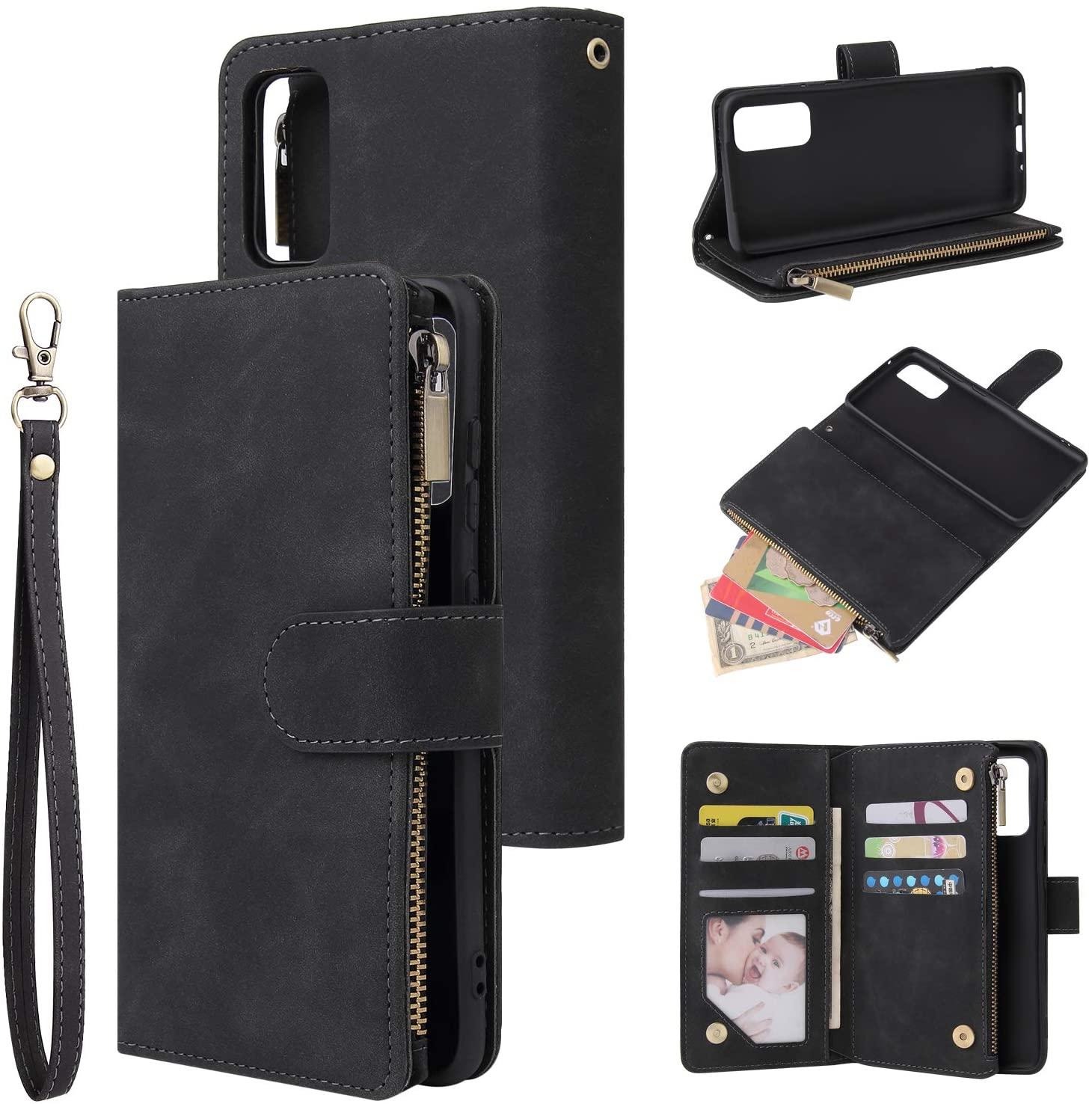 UEEBAI Wallet Case for Samsung Galaxy S20, Premium Vintage PU Leather Magnetic Closure Handbag Zipper Pocket Case Kickstand Card Holder Slots with Wrist Strap TPU Shockproof Flip Cover - Black