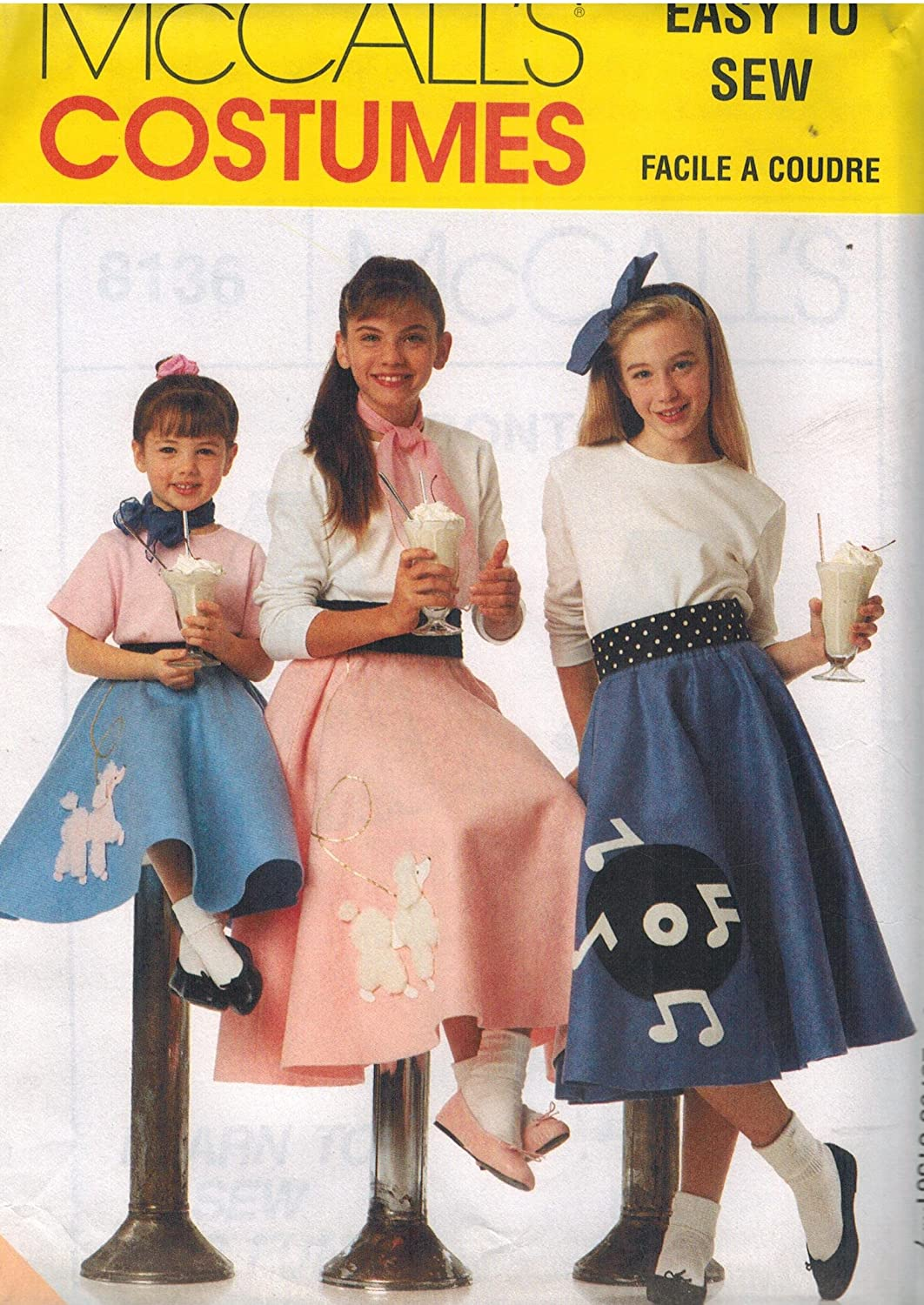 8136 McCalls Sewing Pattern Misses Halloween Costume Circular Skirt Poodle Size 6