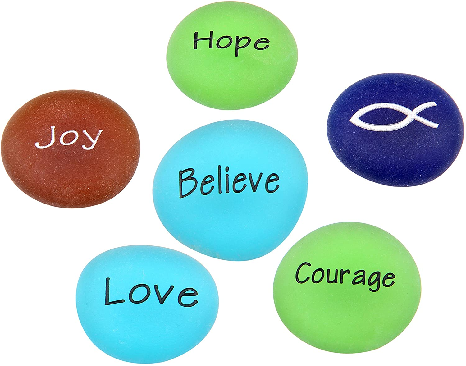 Holy Land Market Courage to Believe - Engraved Frosted Glass Stones Set - Model II