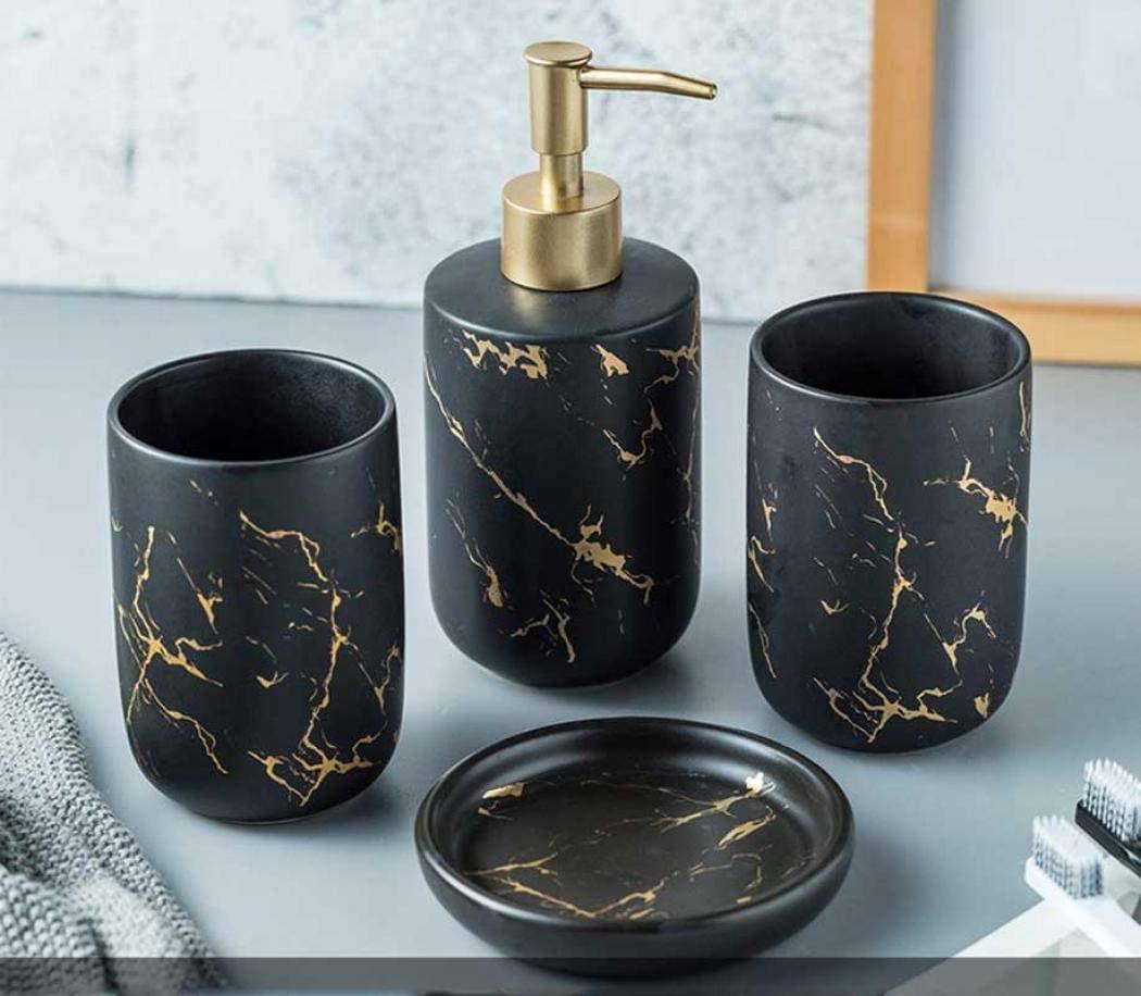 4 Pieces Bathroom Sets Accessories, Ceramics Bathroom Accessory Sets Complete Set Vanity Countertop Accessory Set with Soap/Lotion Dispenser,Tumblers (Black(four piece))
